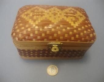 Vintage Soviet braided wooden Box, Home decor box,jewelry Box, storage Box ,made in Soviet times