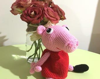 READY TO SHIP - Peppa Pig - handmade crochet