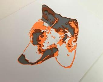 Corgi Papercut Art Print 8x10