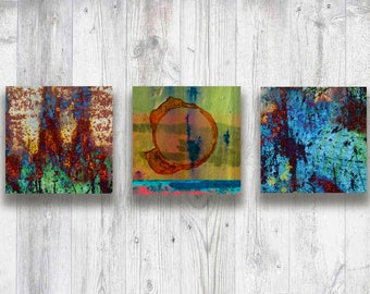 "Metal High Definition 4"" x 4"" Aluminum Prints, Photograph Triptych ""Happy"", Wall Art, Industrial, Urban Living, Colorful, Modern, Abstract"