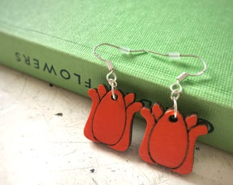 Koningsdag Orange Tulip Earrings, wooden laser cut