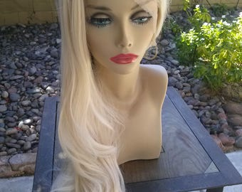 Platinum Blonde Synthetic Wig, heat friendly platinum blonde wig, Long 24 inch Platinum Blonde Wig, Lace Frong Platinum blonde wig