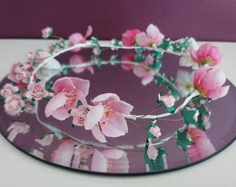 Pink and cherry Blossom artificial flower crown, weddings