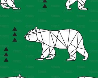 Geometric Bear Fabric by littlearrowdesigncompany