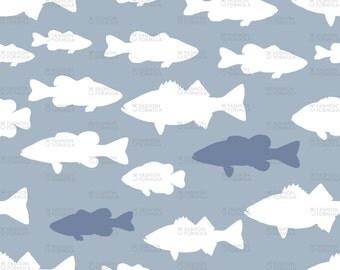 Fish on Blue Fabric by littlearrowdesigncompany