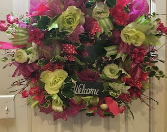 Price reduction  Hot pink green spring or summer wreath