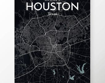 Houston City Map Poster / Color Midnight / Map Art for Houston / Original Artwork