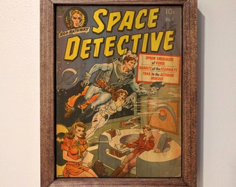 Space Detective #1 Vintage Comic Book Wooden Sign