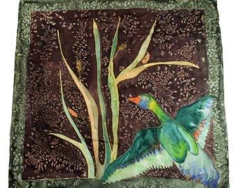 Vintage hand painted women scarf hand rolled Duck Bird