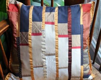 Patchwork pillow, silk fabrics, ca 40 x 40 cm with Fedekissen - filling