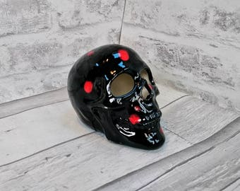 Ceramic skull decoration, hand painted, skull lovers, gothic birthday gift, black and red, weird and wonderful
