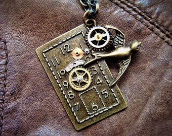 Steampunk Swallow Clock Necklace