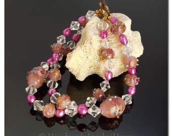 Lampwork Jewelry, Beaded Bracelet, Pink Jewelry, Floral Jewelry, Pink Bracelet, Handmade Jewelry, Beaded Jewelry, Mothers Day Gift