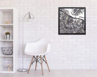 Citymap Amsterdam - lasercut - 61 cm x 61 cm - MDF wood