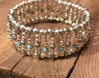 Memory Wire Beaded Bangle Turquois/silver