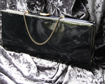 Vintage Black Vinyl Clutch Purse