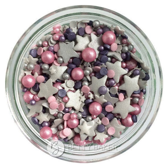 Twinkle Sprinkle Cake Decoration Edible Marker : Pink Twinkle Sprinkle Mix . A Mix of Glimmer Silver Stars ...