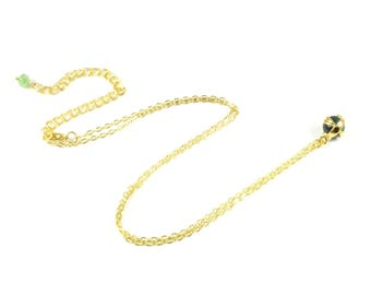 Gold Charm Necklace Gold Dainty Necklace Gold Necklace Green Charm Necklace Green Crystal Necklace Thin Chain Necklace Affordable
