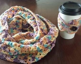 Scarf & Cup Cozy - Multi colored
