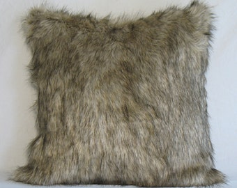 siberian gray wolf faux fur throw pillow cover 22x22 rich neutral accent pillow cover soft faux