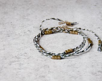 Simple everyday nomad minimalist bracelet, Olive green braided bracelet, Modern friendship wrap bracelet, Water safe jewelry, Brass Beads