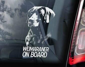 Weimaraner on Board - Car Window Sticker - Vorstehhund Dog Sign Decal - V01