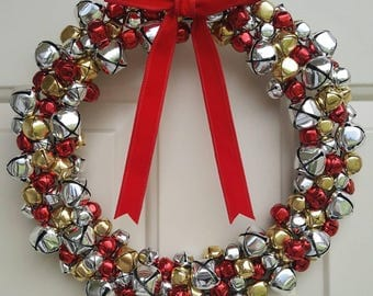 Silver Red and Gold Jingle Bell Holiday Wreath | Christmas Wreath with Real Jingle Bells | Winter Wreath in Various Sizes on Wire Frame