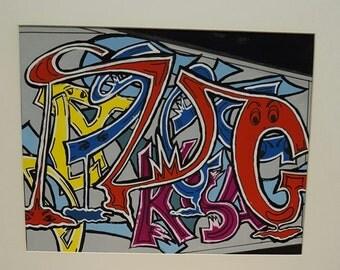 Family grafitti in acrylics