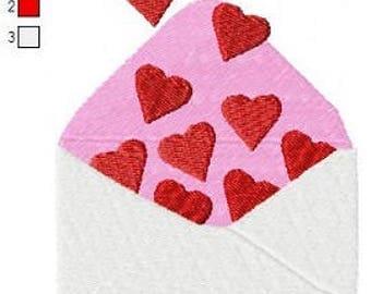Heart envelope PES applique embroidery machine design instant digital download