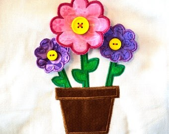 Cute Flower Pot with 3 Dimensional, 3D, Flowers Applique Machine Embroidery Design Instant Download 5x7