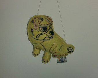 Sad/Cute Pug Dog Art Doll