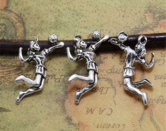 10pcs Volleyball Players Charms Silver TONE 3D Volleyball charm pendants 28x19mm ASD0271