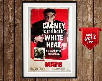 White Heat Vintage Movie Poster - James Cagney, Edmond O'Brien, Virginia Mayo, Old Hollywood, Warner Bros, Vintage Movie Poster, Film
