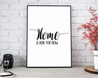Home Is Here For Now, Wanderlust, Adventure, Travel, Explore, Room Decor, Motivational, Meditation, Love, Life, Cafe, Vacation, Decor