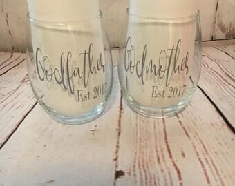 Godparents wine glasses - Godfather gift - Godmother gift - christening gifts - godparents gifts - wedding godparents gift - stemless wine