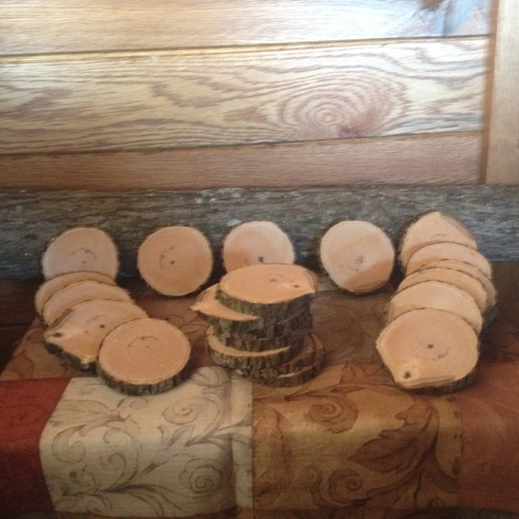 Pieces real hickory wood log slices for crafts weddings