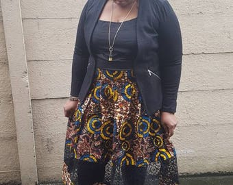 Ankara and lace skirt/ African clothing/gathered skirt/occasion wear