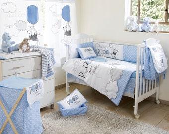 Disney Blue Winnie The Pooh Play Crib Bedding Collection 4 Pc Crib Bedding Set