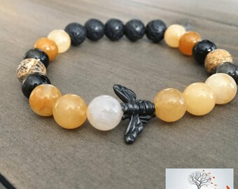 "Natural Stone Elastic Bracelet - ""Bee Good To Yourself"" (Golden Jade, Gold Sheen Obsidian, Picture Jasper, Lava Rock)"
