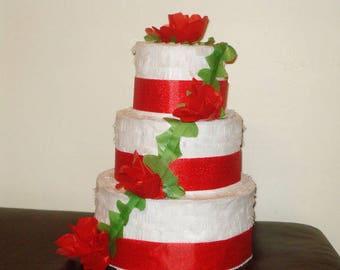red wedding cake pinata. Birthday cake pinata.