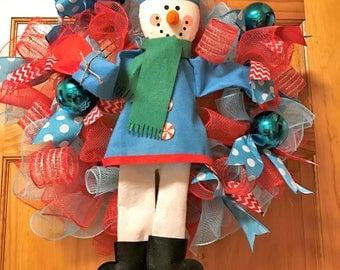 Snow Man Deco Poly Mesh Wreath