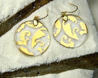 Gold Tapestry on Glass - 1 1/8'wide light round Glass Hook Earrings -  handmade and hand painted with 24 Karat Gold on glass