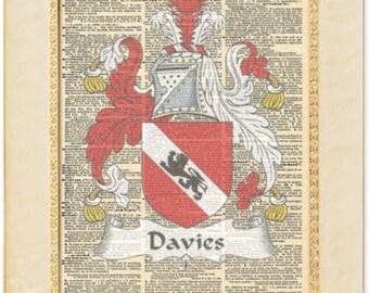 Davies Welsh Family Crests artwork. Welsh Vintage Coat of arms gift. Vintage prints. Vintage welsh gift.
