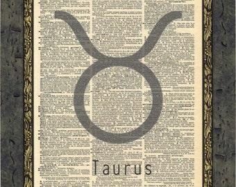 Zodiac Star Signs art print. Taurus star sign print. Star sign gifts. April & May Star signs. Vintage prints.