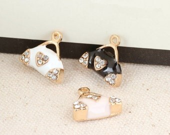 10pcs Crystal Bag Charms Oil Drop Bags Pendant Bracelet Necklace Charms,DIY Fashion Heart Charms Accessories Making Findings Jewelry