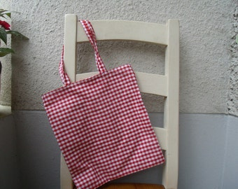 Shopping bags bags tote bag big red white checkered squares