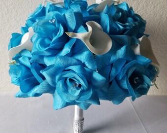 Turquoise Rhinestone Rose Calla Lily Bridal Wedding Bouquet & Boutonniere