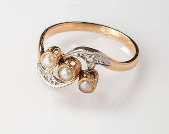 Winged pearl Art Nouveau sweet 16 ring