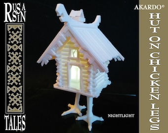 "Nightlight ""Hut on chicken legs"", 3D printed & assembled"