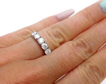 Platinum & diamond five stone ring, diamond eternity ring, diamond wedding ring, classic five stone diamond ring, platinum and diamond ring